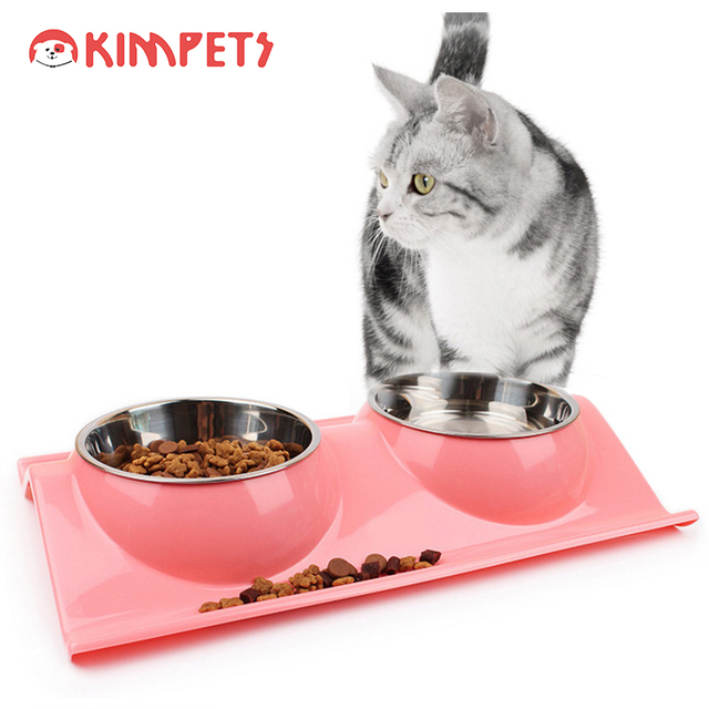Kimpets New Stainless Steel Dog Cat Bowl with Tableware Mat Water Food Bowls Storage Indoor Pet Dishes Feeder Dispenser
