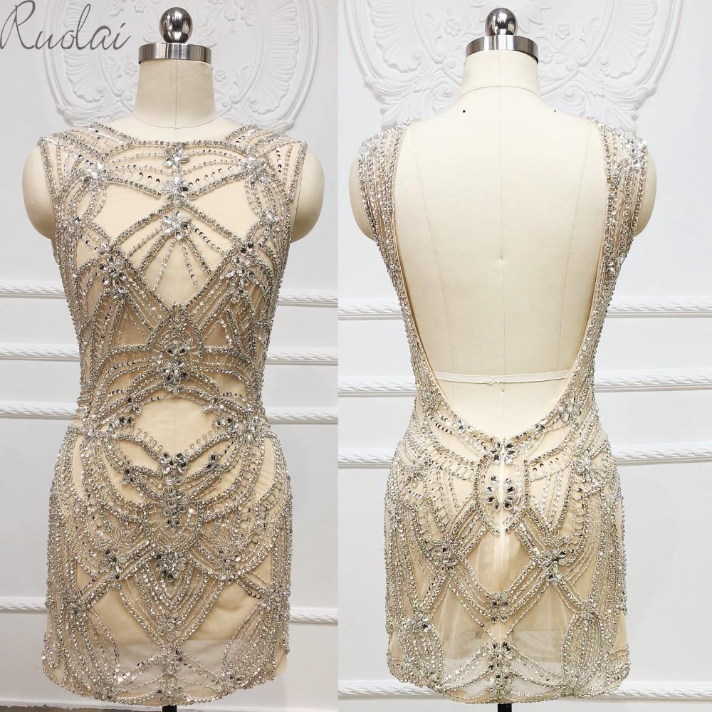 2019 New heavy crystal decoration open back sexy   Evening     dress   for Women short   Evening     dress   robe de soiree