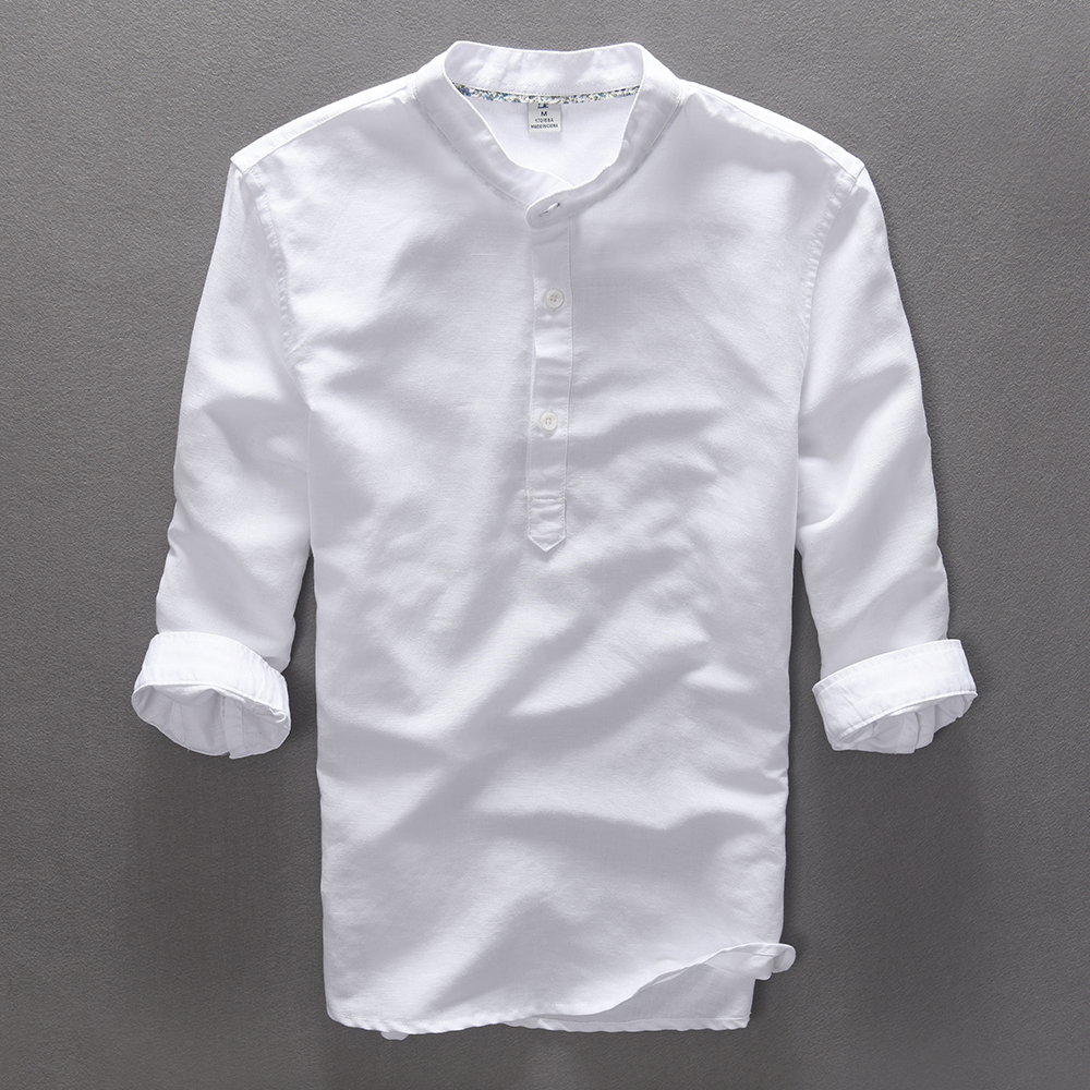 Italy Style Three Quarter Sleeve Shirt Men Linen Cotton Men Shirt Summer Solid Stand Collar Shirts