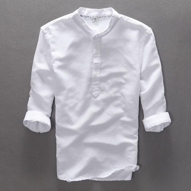 Italia estilo de manga tres cuartos camisa hombres Lino algodón hombres  camisa verano solid stand collar 4ce945cda91f2