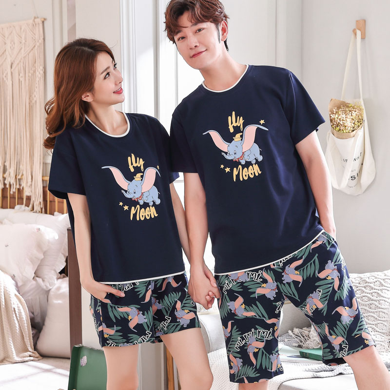 4XL 5XL Lovers   Pajamas   Women Summer Short Sleeved Cotton   Pajama     Sets   Men Pure Couple Sleepwear for Men Pyjamas Plus Nightwear