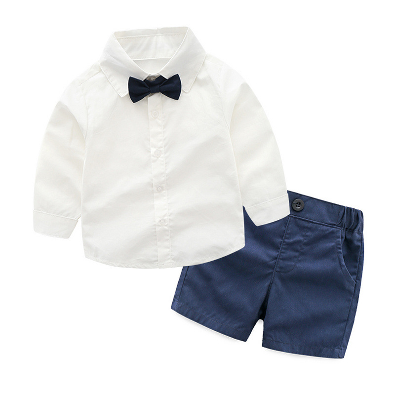Boys Boy Formal Party Clothes White Shirt With Bowtie + Dark Blue Shorts Baby Clothing Set Boy Suit Baby Age 9M 12M 18M 24M 3T 2017 eyas kids clothes child clothing set long sleeve suit set white ring bearer formal 4pc with shirt bowtie a5103