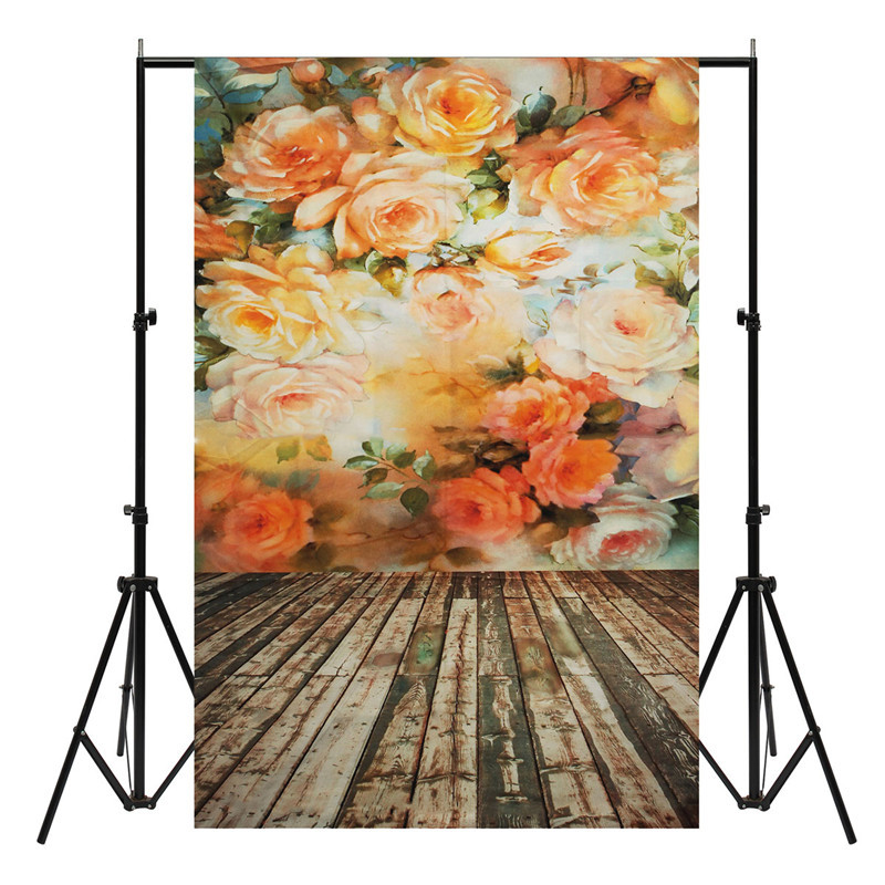 3x5ft Vinyl Photography Background Flower Wall Wood Floor Photographic Backdrop for Studio Photo Props waterproof Cloth