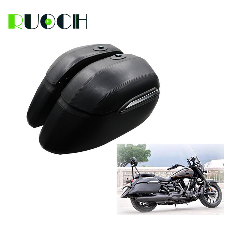 Luggage Saddlebag for Motorcycle Cruiser font b Hard b font Leather Trunk Saddle Bag For Harley