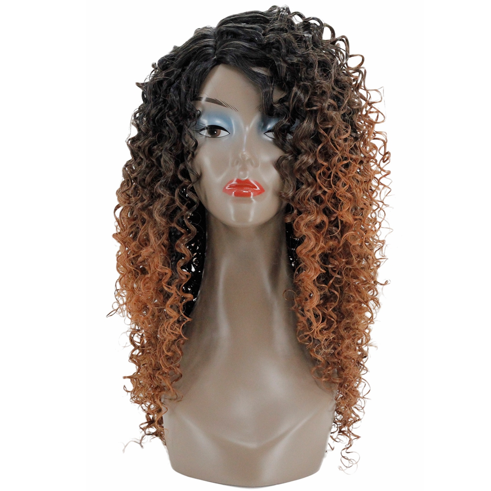 X-COSTUME Women Fashion Cosplay Curly Headwear Black and Brown Long Hair Accessories Heat Resistance Fiber Party Cosplay Hairs