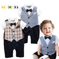 Boys Summer Clothes Newborn Baby Boy Gentleman Bow  Romper clothing  Short Sleeve baby Jumpsuit Plaid Preppy Style Baby Costumes