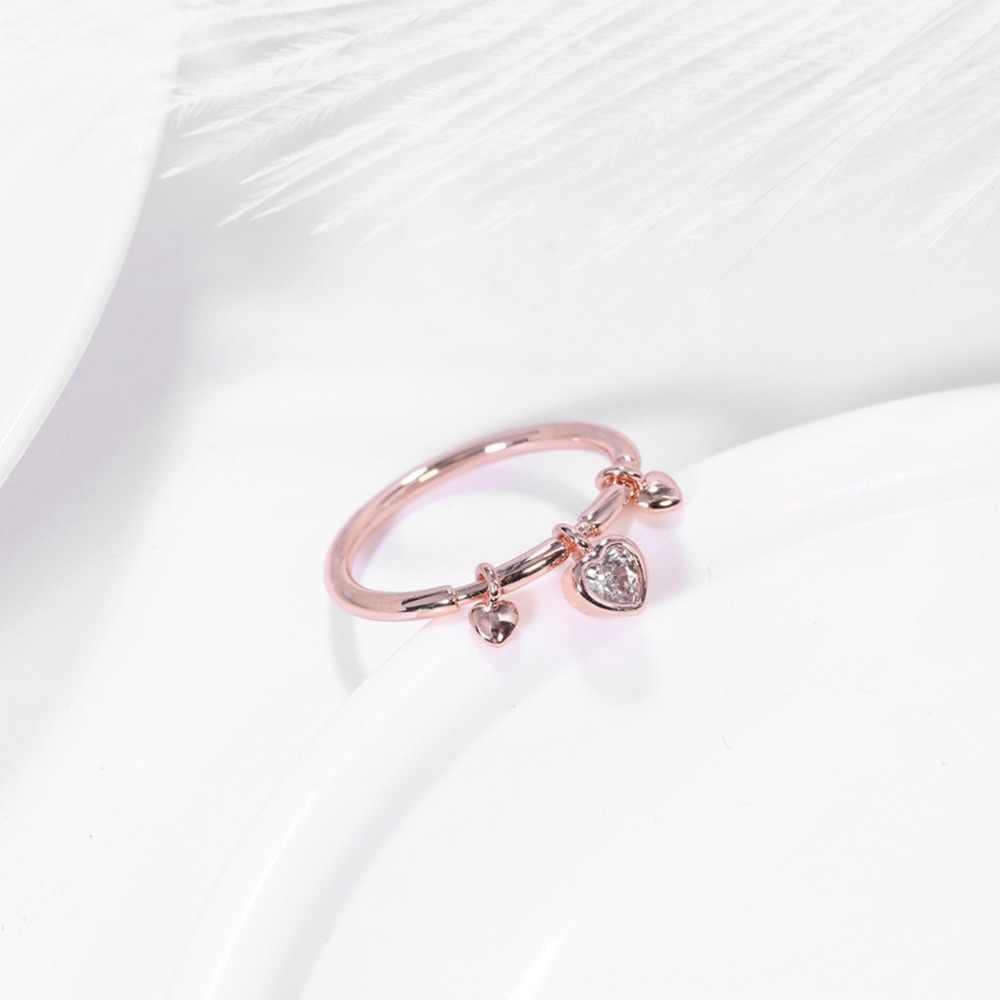 ERLUER ชุดแหวนสำหรับผู้หญิงงานแต่งงานโรแมนติกรูปหัวใจสาวเครื่องประดับ rose gold คริสตัล Zircon แหวนหมั้นแหวนแฟชั่นเครื่องประดับ