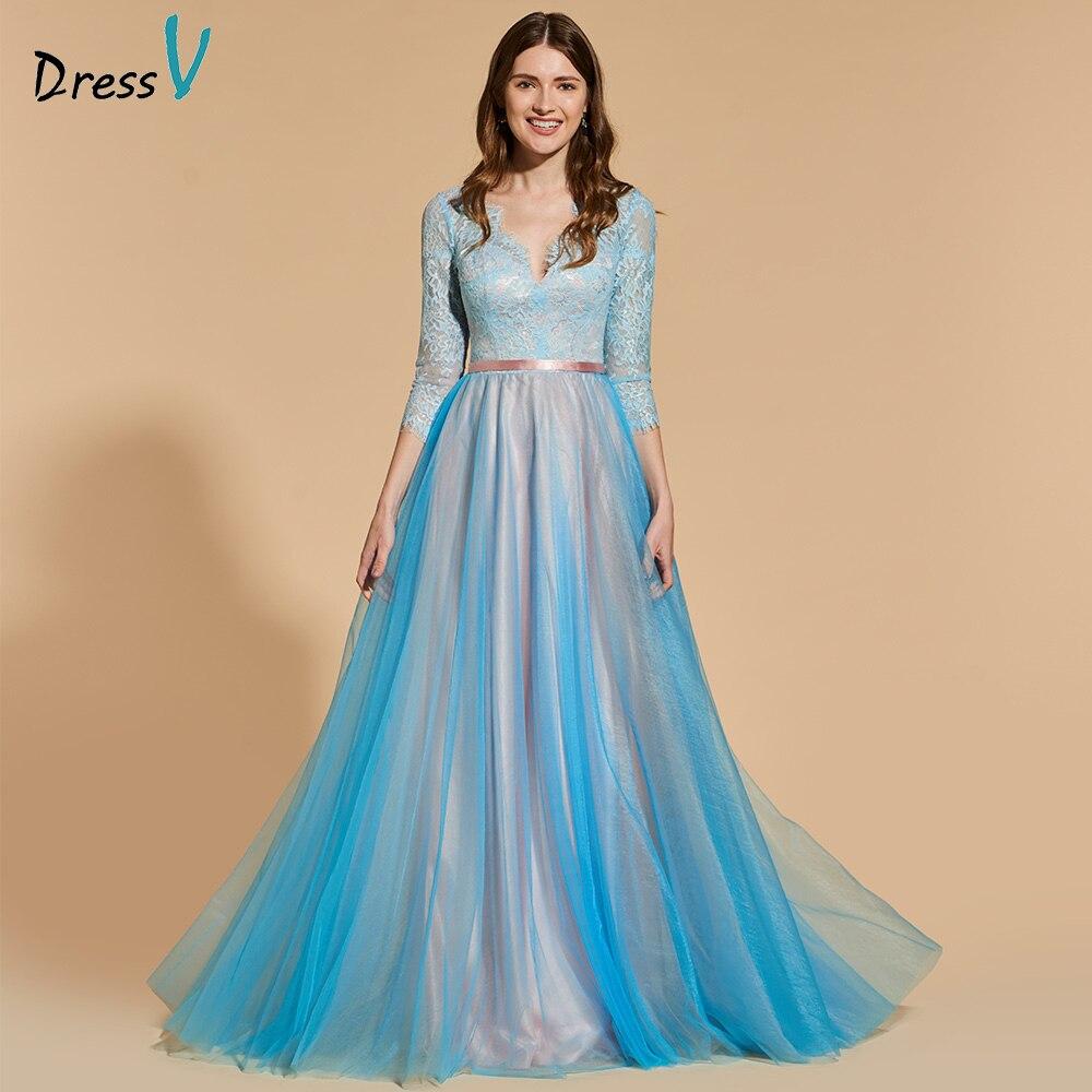 Dressv tulle elegant long prom dress 3/4 sleeves a-line floor length ...