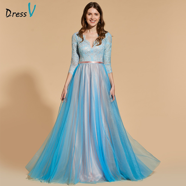 3fb0f13eacb Dressv tulle elegant long prom dress 3 4 sleeves a-line floor length  backless evening party gown lace prom dresses customize