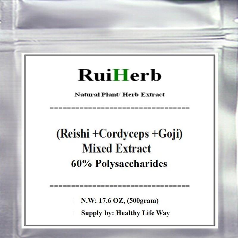 цены на 500gram (Cordyceps + Reishi + Goji ) Mixed Extract 60% Polysaccharides Powder free shipping в интернет-магазинах