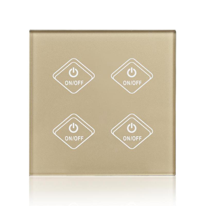 4 Gang Light Wall Switch Crystal Tempered Glass Panel WiFi Smart Touch Remote Control Switch Wireless Control UK Standard Z3