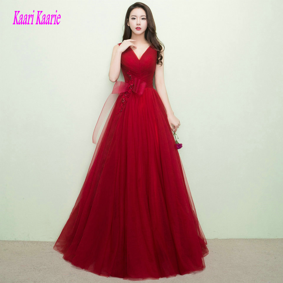 Elegant Burgundy Prom Dresses Long 2019 Red Prom Dress V-Neck Tulle Bow Floor Length Women Formal Party Gown Evening Real Photos