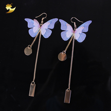 XinYun 2pc Bohemian Butterfly Bride Accessories Gold Plated Long Chain Charm Drop Earrings Wedding Accessories Party Decorations