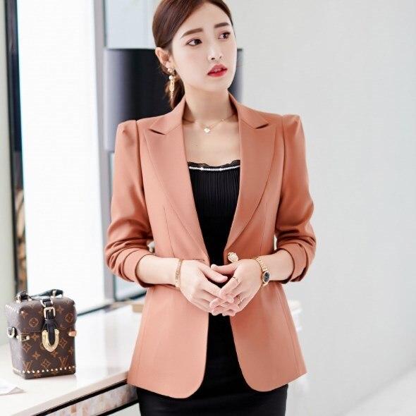 2019 Autumn Office Jackets Women Slim Fit Blazer Mujer Korean Style Long Sleeve Ladies Short Blazers Black Blue Green Brown jeans con blazer mujer
