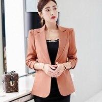2019 Autumn Office Jackets Women Slim Fit Blazer Mujer Korean Style Long Sleeve Ladies Short Blazers Black Blue Green Brown