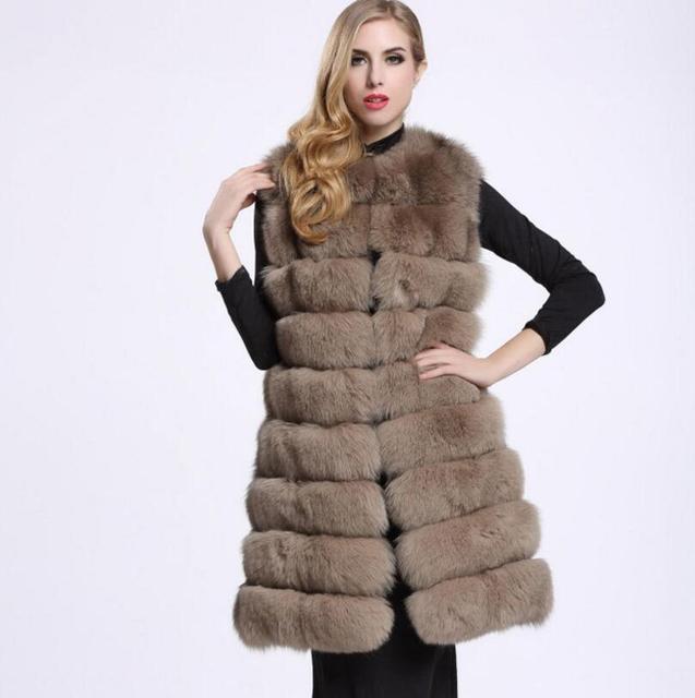 e655ba7cb25 2018 winer Faux Fur Sleeveless Jacket Thicken Women Long Faux Fur Vest  Luxury Fake Fur Coats s1329