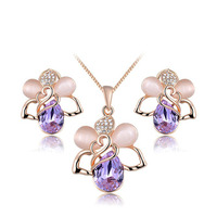 Two Pink Opal Purple Austria Crystal Plant Style Rose Gold Plating Jewelry Sets Women S Fashion