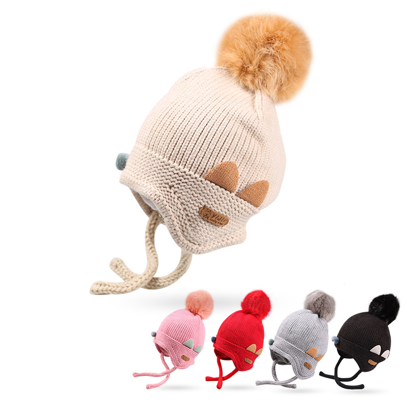 Cat Cartoon Baby Girls Hat Knit Warm Infant Beanie Hat Winter Solid Crochet Hat With Pompom Lace Up Ear Protect Beanie Baby Boy