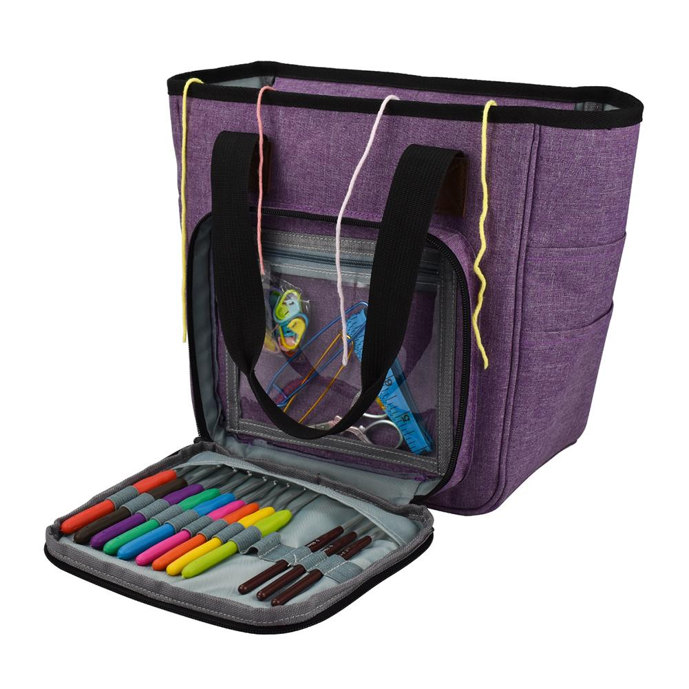 DIY Knitting Carrying Case Portable Knitting Yarn Storage Bag With Multiple Pockets Tote Needles Threads Crochets Bag