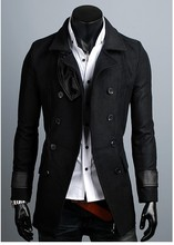 Black brown 2016 autumn winter modern informal medium-long mens double breasted pea coat slim males's clothes cashmere coat