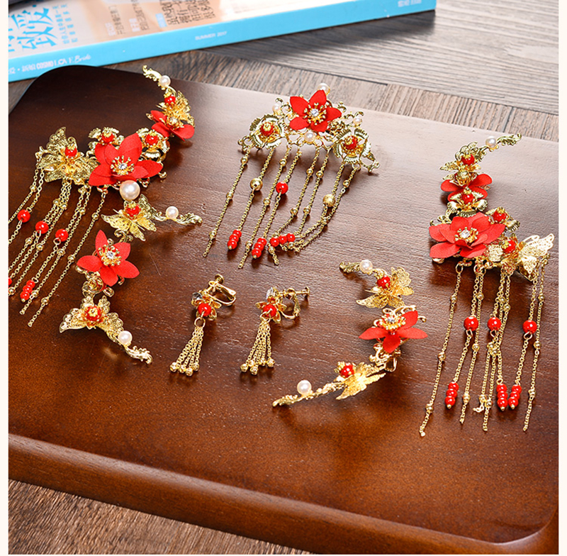 Traditional Chinese Gold Flower Red Pearl Hairpins Hair Stick Wedding Bridal Coronet Hair Jewelry Hair Accessories 3