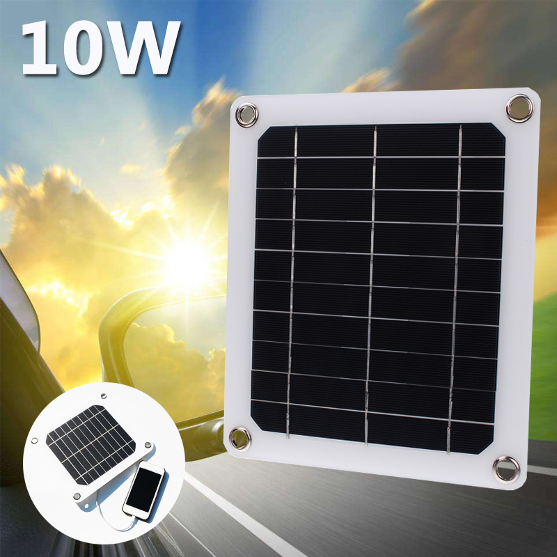 10W 12V 1A Solar Panel Portable Power Bank Board External Battery Charging Solar Cell Board DIY Clips Outdoor Travelling