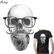 цена на Pulaqi New Iron On Skull Batman Patches Heat Thermal Transfer Stickers For Man T-shirt Clothes Appliqued Garment Accessories D