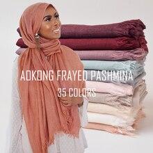 10 teile/los Hohe Qualität Frauen Oversize Solide Plain Hijab Schal Schals Kopf Wraps Viskose Kaschmir Moslemischer Ausgefranste Hijabs Pashmina