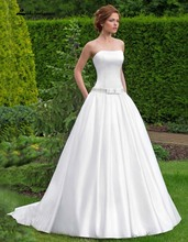 Simple Strapless Satin A Line Wedding Dress With Belt Court Train Plus Size Cheap Bridal Gowns