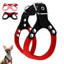 Soft Suede Leather Small Pet Dog Harness for Puppies Chihuahua Yorkie Teddy Puppy Adjustable Chest Breast-band Belt Lead(China)