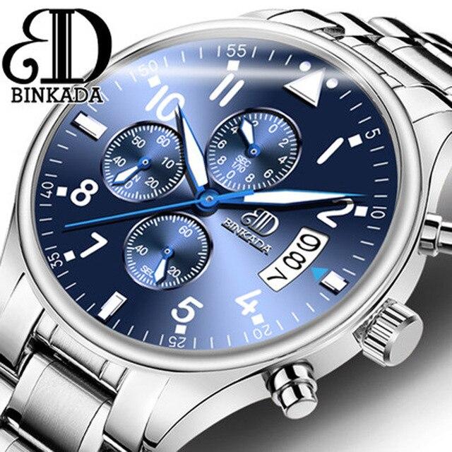 R eloj hombre binkadaแบรนด์แฟชั่นที่เรียบง่ายสบายๆธุรกิจนาฬิกาผู้ชายวันบุรุษควอทซ์กันน้ำดูrelógio masculino