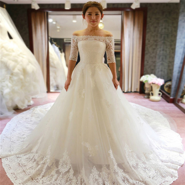 Wedding Dress Bateau Neck Lace Up Classy Tulle Long Bridal Gown Half ...