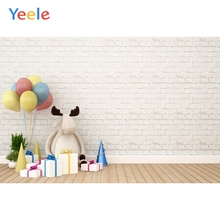 Yeele Toy Calf Cartoon Gifts Balloons Festival Brick Wall Baby Photography Backgrounds Photographic Backdrops For Photo Studio