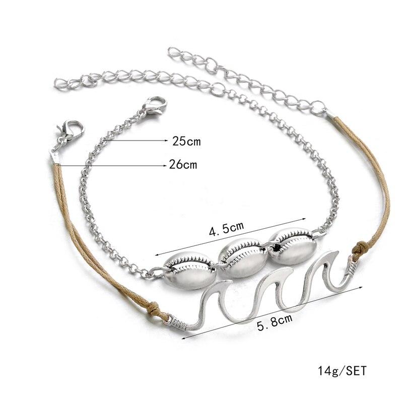 Boho Dalga Bileklik Gümüş Bilezik Kadınlar için Halhal Sahil Takılar Kabuk Ayak Bileği Bilezik Zincir Halhal Kadın Enkelbandje Halha