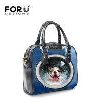 FORUDESIGNS Cute Printing Animal Pet Dog Shoulder Handbag For Women Designer Tote Handle Bag Ladies Girls