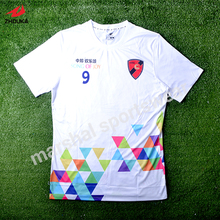 sublimation customized white soccer t-shirt fresh style 100%polyester in top quality