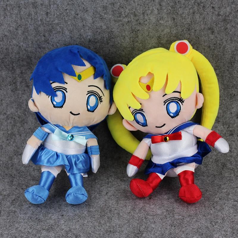 27cm Sailor Moon Plush Toy Tsukino Usagi Cute Sailor Mercury Soft Stuffed Doll Japanese Anime Collection