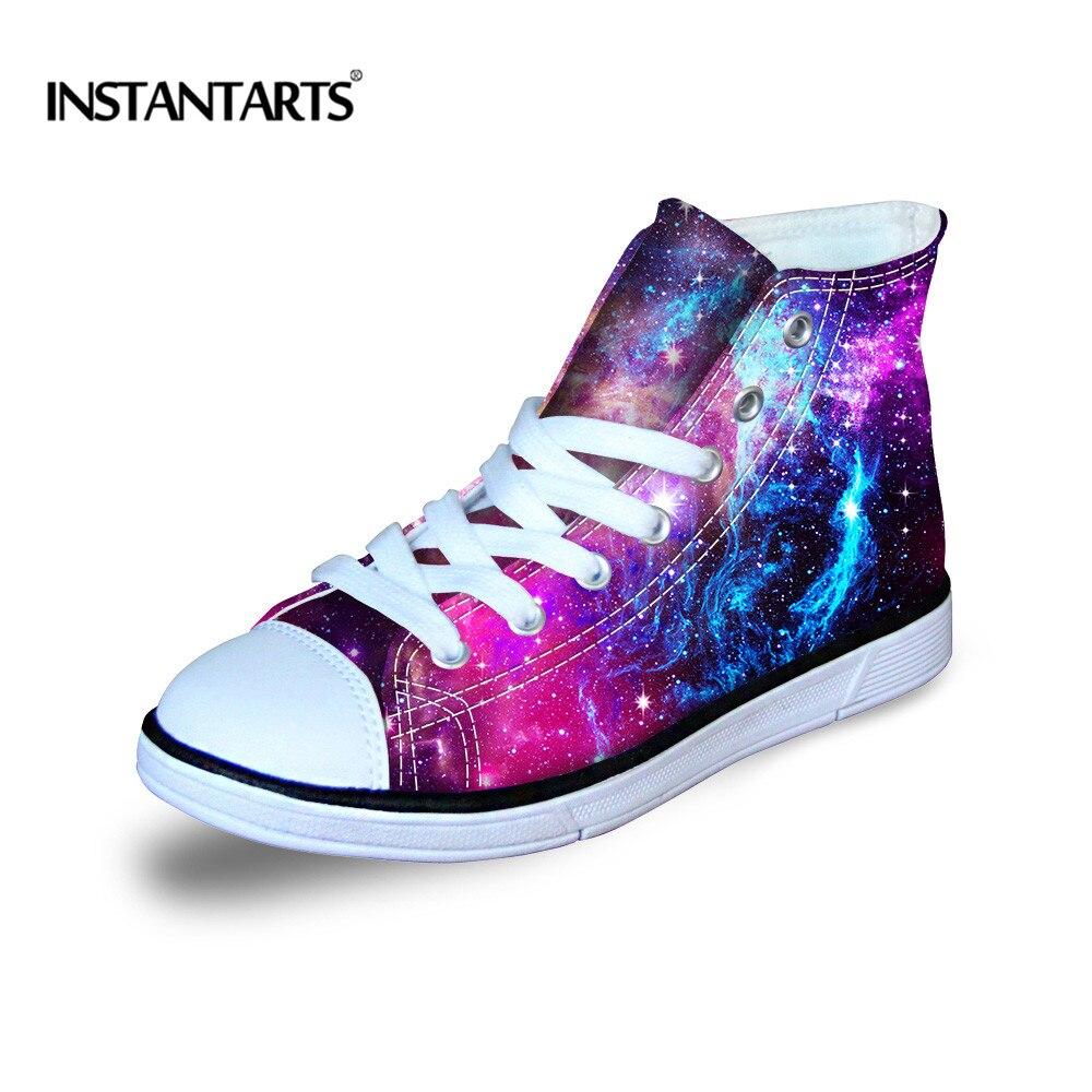 Boys Girls Galaxy High Top Canvas Shoes Boots Little Kids Children Casual Flats