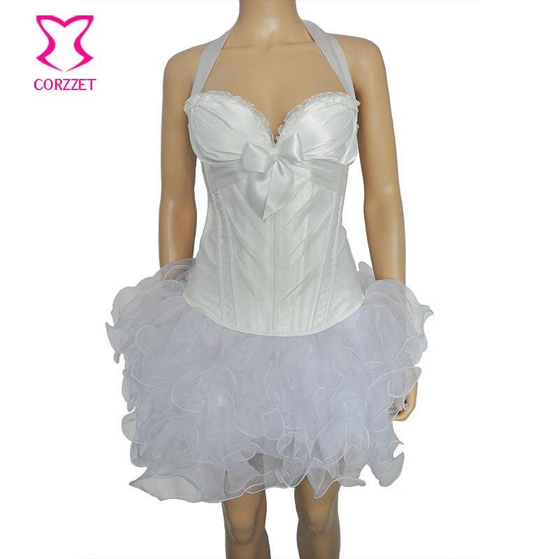 84fc65119f6 Corzzet White Satin Halter Overbust Corset Dress Vintage Bustier Top Gothic  Overbust Corset Dress Waist Corsets And Bustiers