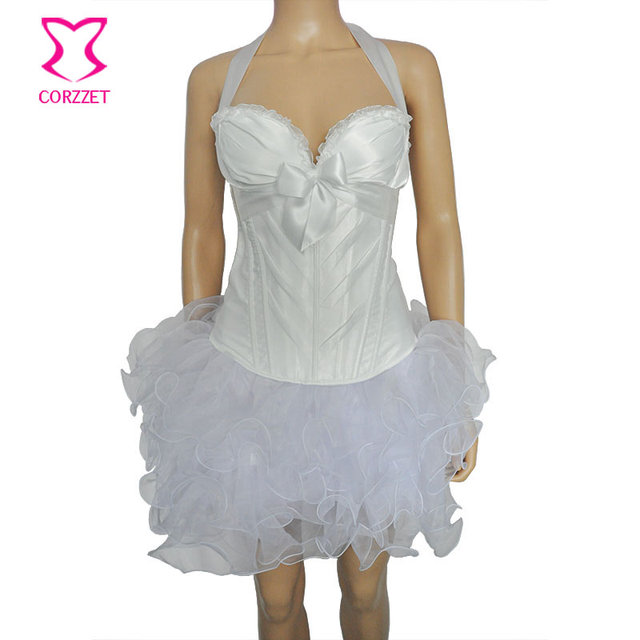 Corzzet white satin halter overbust corset vestido bustier top corset overbust gótico do vintage vestido de cintura espartilhos e bustiers