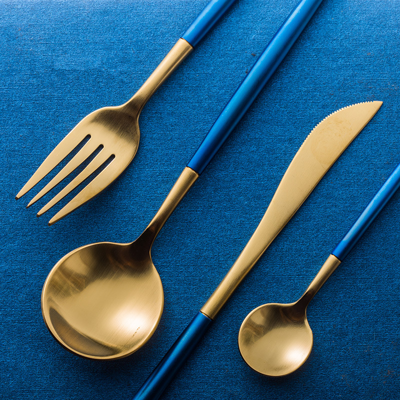 KuBac 24Pcs Blue Gold Dinnerware Set Top Quality 304 Stainless Steel Dinner Knife and Fork Teaspoon Cutlery Set Drop ShippingKuBac 24Pcs Blue Gold Dinnerware Set Top Quality 304 Stainless Steel Dinner Knife and Fork Teaspoon Cutlery Set Drop Shipping