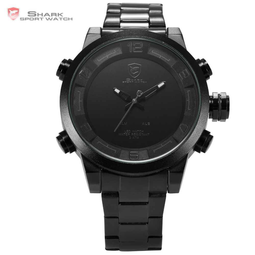 New Shark Sport Watches Digital Men Black White LED Dual Time Auto Date Full Steel Strap Clock Men Military Sport Watch / SH364 goblin shark sport watch 3d logo dual movement waterproof full black analog silicone strap fashion men casual wristwatch sh165