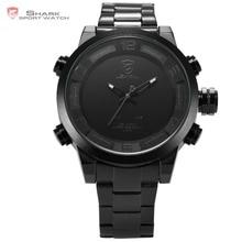 Nouveau Shark Sport Montres Numérique Hommes Noir Blanc LED Dual Time Date automatique Complet Bracelet En Acier Horloge Hommes Militaire Montre de Sport/SH364