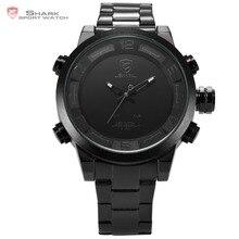 New Shark Sport Watches Digital Men Black White LED Dual Time Auto Date Full Steel Strap Clock Men Military Sport Watch / SH364