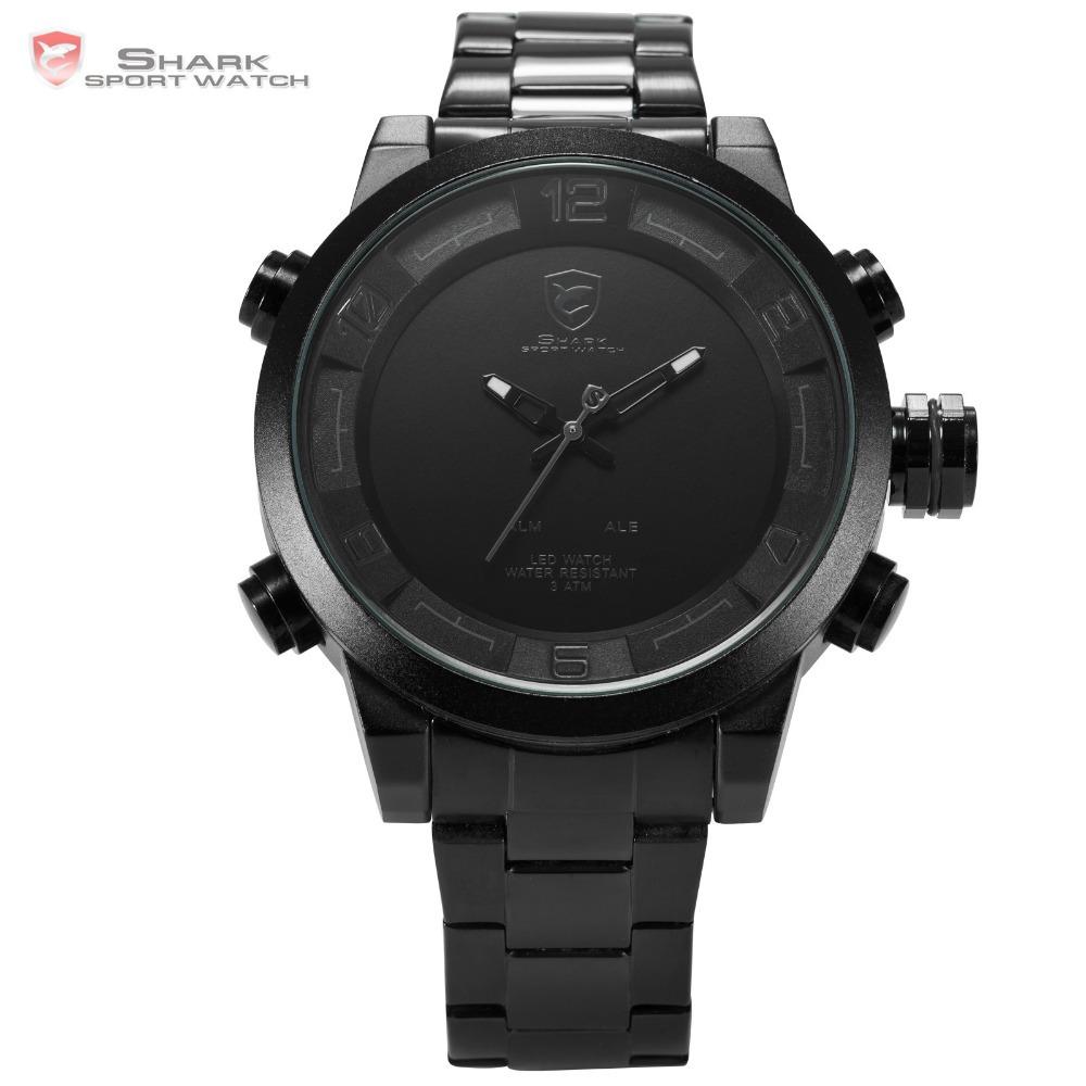 Prix pour Nouveau shark sport montres numérique hommes noir blanc led dual time Date automatique Complet Bracelet En Acier Horloge Hommes Militaire Montre de Sport/SH364