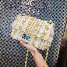 British Fashion Women's Designer Handbag 2018 New Quality Woolen Women bag Pearl Small Square bag Chain Shoulder Messenger bags