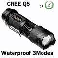 Mini LED Flashlight 2000 Lumens Waterproof CREE Q5 LED Flashlight 3 Modes Zoomable LED Torch penlight free shipping