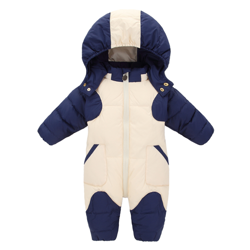 Winter Newborn Baby Clothes Down Jackets Snowsuit Infant Baby Romper White duck down coat with Hat for Baby Boys Overalls IY337 baby christmas reindeer cotton snowsuit with hat newborn baby girl boy clothes skiing snowsuit for boys winter coats and jackets