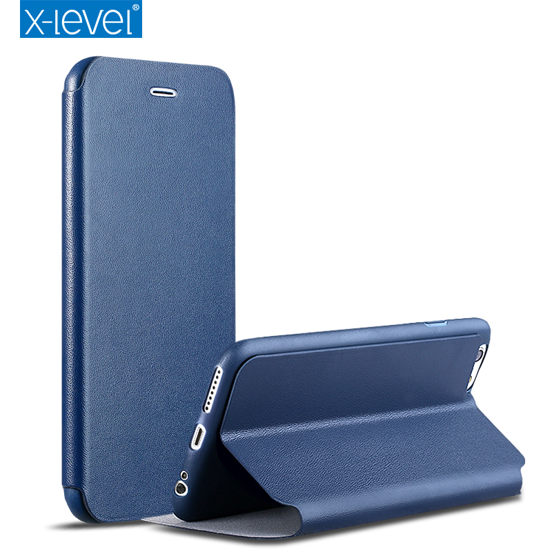 Super thin flip case for iphone 8 8 plus X-Level PU leather cover + soft TPU phone case for iphone 7 7 plus with kickstand
