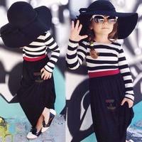 Children S Dresses Cute Girls Clothes Summer Kids Long Sleeve Cotton Striped Dress New Fashion Princess
